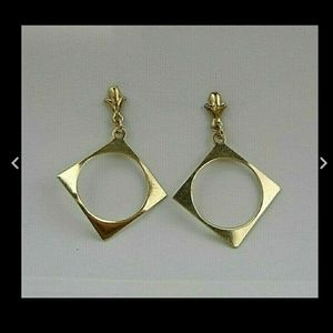 14k Yellow Solid Gold Square Hoop Modernist E